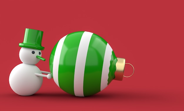 Merry christmas postcard . snowman whit christmas ball . 3d rendering . 3d illustration