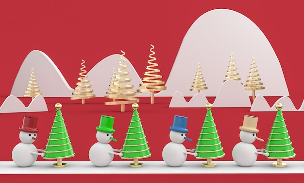 Merry christmas postcard . snowman whit christmas tree . 3d rendering . 3d illustration