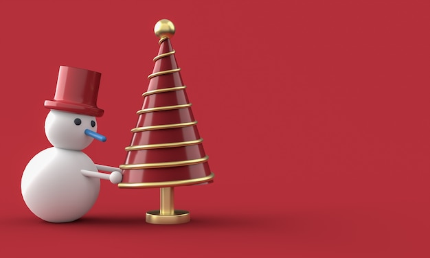 Merry christmas postcard . snowman whit christmas tree . 3d rendering . Premium Photo