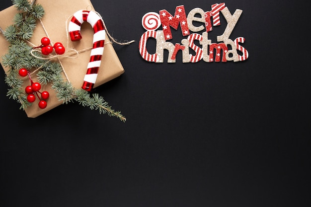 Merry christmas sign with gift