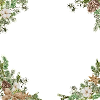 Merry christmas square frame composition with pine and fir branches, cotton, anise flower, bow and cone. winter