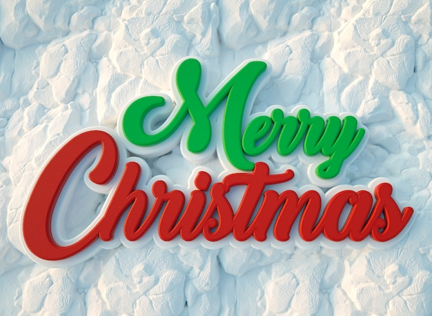 Merry christmas text buried under snow seen from above