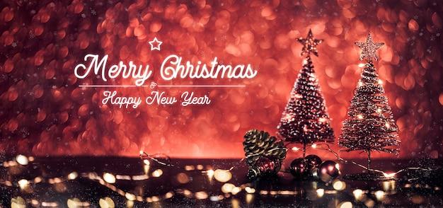 Merry christmas text and christmas tree