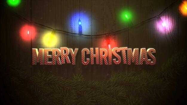 メリークリスマスのテキスト、カラフルな花輪とクリスマスの緑の木の枝。冬の休日のための豪華でエレガントなダイナミックスタイルの3dイラスト