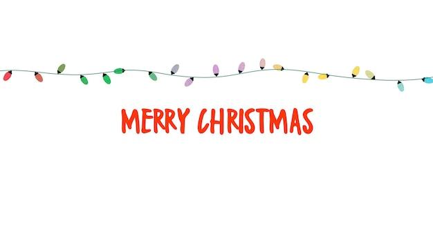 메리 크리스마스 텍스트, 흰색 바탕에 화려한 화환. 겨울 휴가를 위한 고급스럽고 우아한 동적 스타일 3d 그림