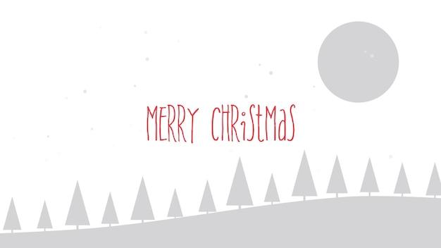 メリークリスマスのテキスト、山、森、雪景色。冬の休日のための豪華でエレガントなダイナミックスタイルの3dイラスト