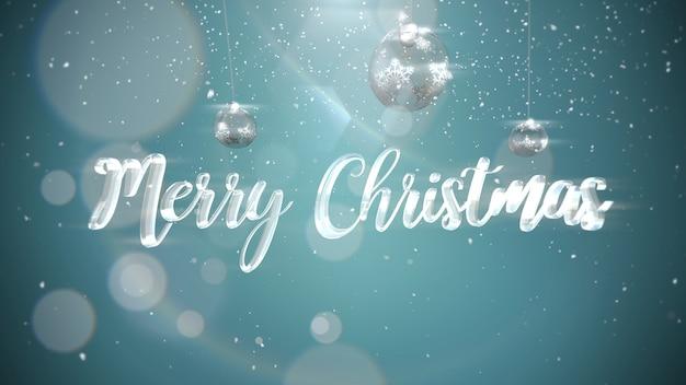 メリークリスマスのテキスト、輝く背景に銀のボール。冬の休日のための豪華でエレガントなダイナミックスタイルの3dイラスト