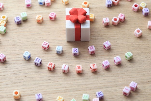Merry christmas text with letter cubes.