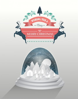 Merry christmas vector with snow globe