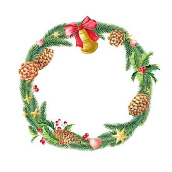 メリークリスマス水彩カード。スプルースの枝の水彩画の花輪。新年のイラスト。