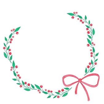 メリークリスマス水彩ホリーベリーとリボンリース