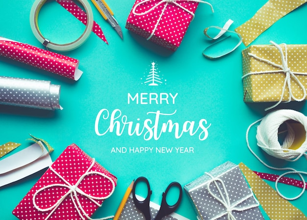 Merry christmas with decorating gift box present .flat lay design