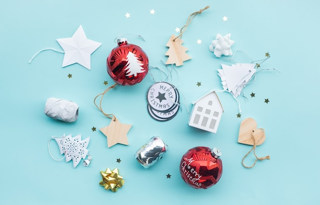 Merry christmas with ornament prop element on color background.winter season