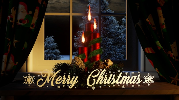 Merry christmas with ornaments candles curtains in the window and outside conifers