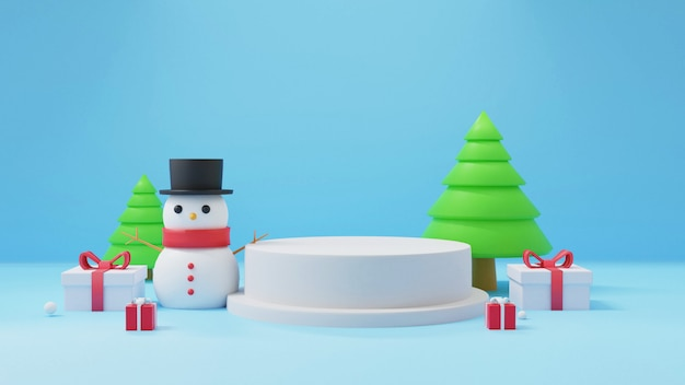 Merry christmas with podium, christmas celebrations with snowman and gift boxes