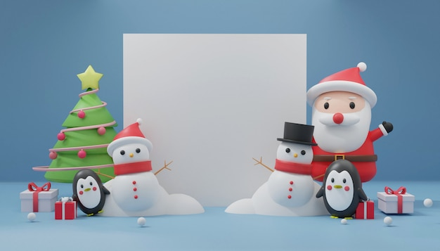 Merry christmas with space for text, christmas celebrations with santa clause, penguin, snowman for christmas card