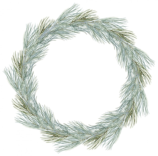 Merry christmas wreath composition winter round frame