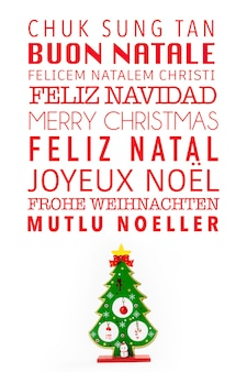 Merry christmas written in many different languages.