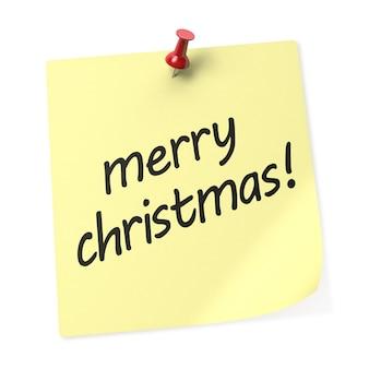 赤い押しピンが付いているメリークリスマス黄色の付箋。 3dレンダリング