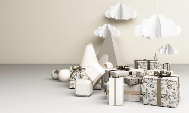 메리 сhristmas와 새해 복 많이 받으세요. 추상 최소한의 디자인, 기하학적 크리스마스, 선물 상자,