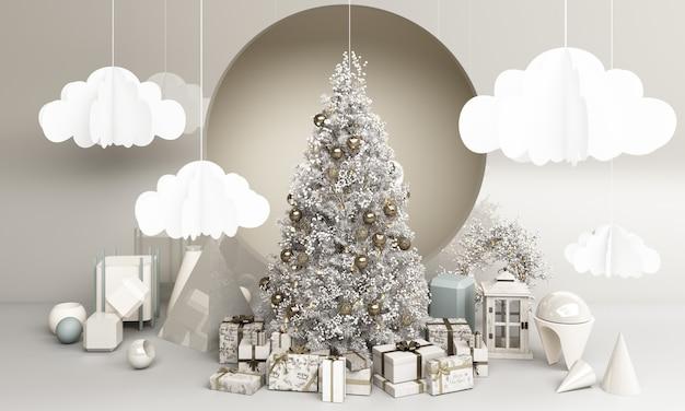 메리 сhristmas와 새해 복 많이 받으세요. 추상 최소한의 디자인, 기하학적 크리스마스 트리