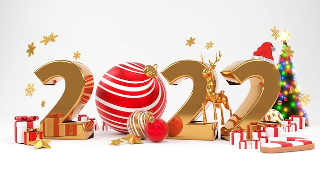 Merry ð¡hristmas and happy new year 2022 . abstract minimal design, christmas trees, gift box, 3d rendering.