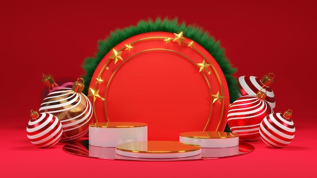 Merry ð¡hristmas and happy new year. abstract minimal design, empty round realistic stage, podium. 3d rendering.