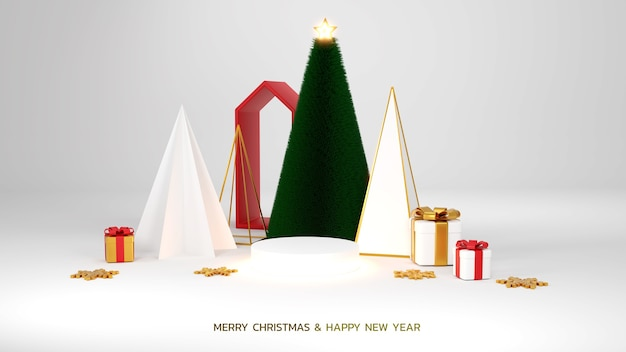 Merry ð¡hristmas and happy new year. abstract minimal design, geometric christmas trees, gift box, empty round realistic stage, podium. winter holiday background. website header or banner