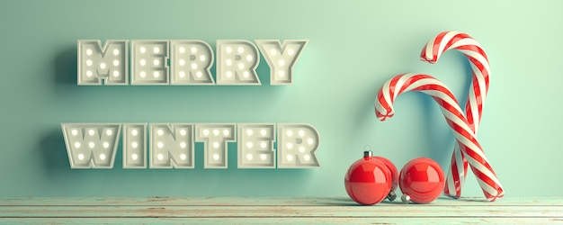 Merry winter christmas red white twisted candy cane caramel in aquas3d