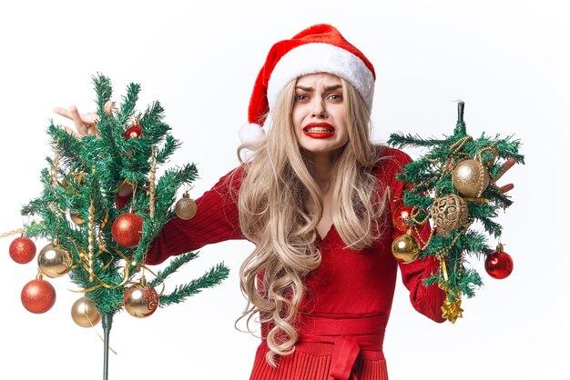 陽気な女性のクリスマスのおもちゃの装飾のファッションの休日