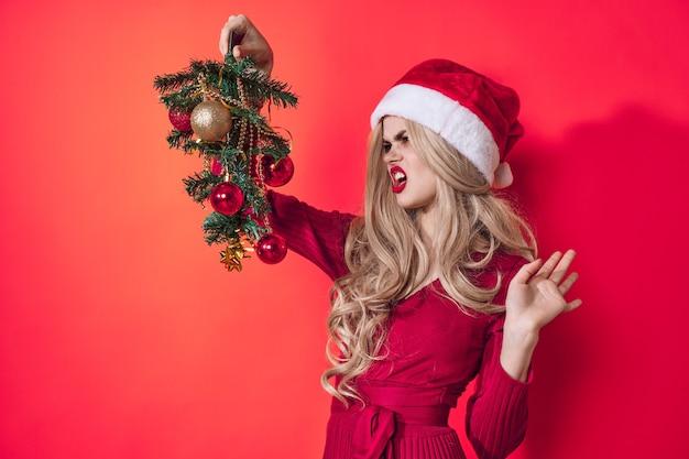 메리 여자 기쁨 크리스마스 장식 휴일 분홍색 배경