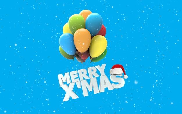 Мерри x мас шрифт, как красочные воздушные шары на белом снегу и синем фоне