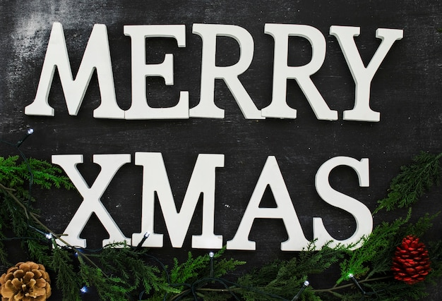 Merry xmas inscription with green branches