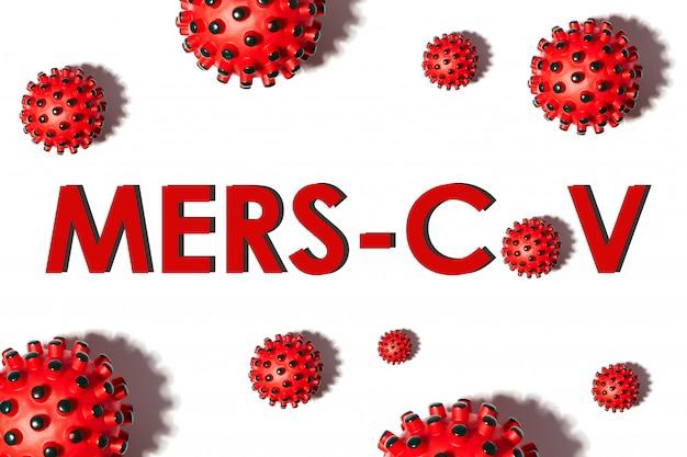 白い背景の上の碑文mers-cov。世界保健機関whoは、チャイナウイルス2020疾患の新しい名前を導入しました:コロナウイルス、covid-19 sars、コロナウイルス科、sars-cov、sarscov