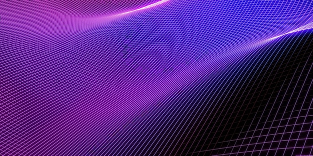 メッシュ波構造曲線背景紫と青のグラデーションマクロ画像3dイラスト