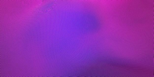 メッシュ波構造曲線背景紫と青のグラデーション広角3dイラスト