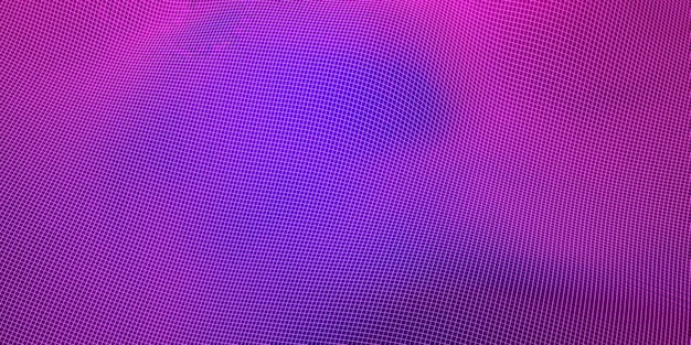 Mesh wave structure curve background purple and blue gradient wide angle 3d illustration