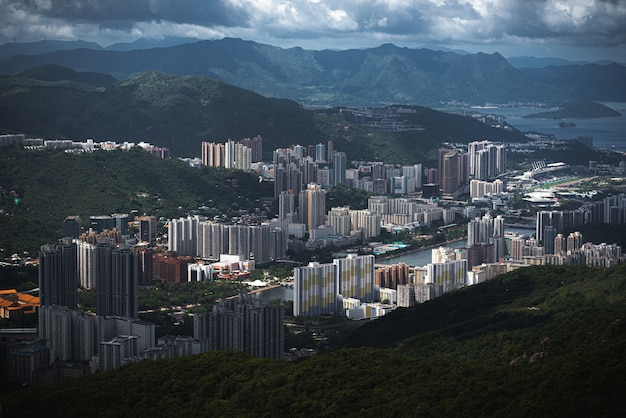홍콩 홍콩 시내의 매혹적인 공중 전망