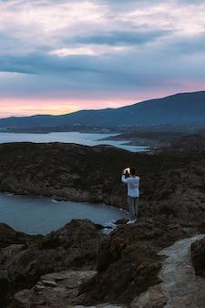 Mesmerizing amazing scenery and landscape on hiking trail with urban adventurer explore nature wonders