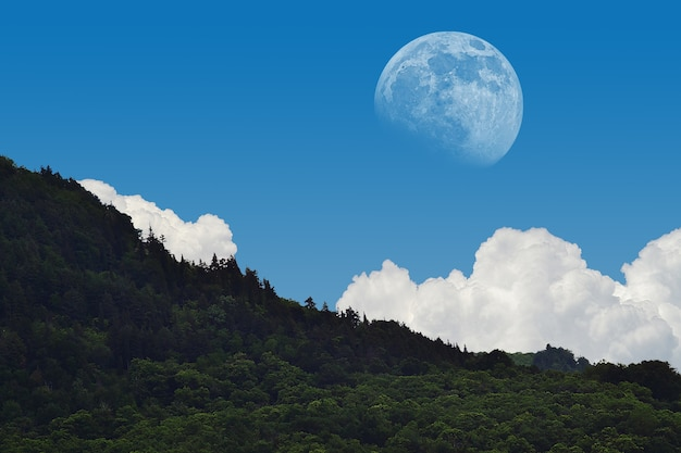 Mesmerizing landscape shot of the moon vibrant on broad day light