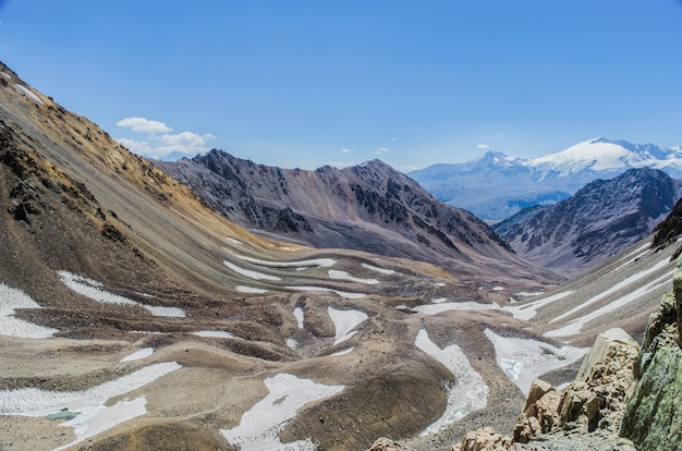 Mesmerizing scenery of the andes mountains in argentina under a blue sky