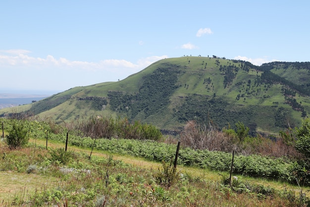 田舎の空に触れる丘の魅惑的な風景