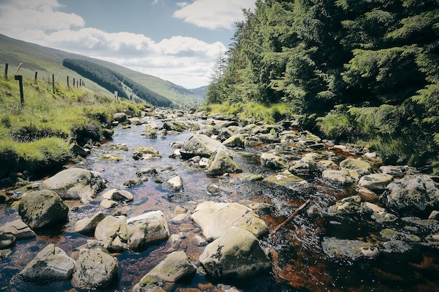Mesmerizing scenery of a stream of wicklow mountain