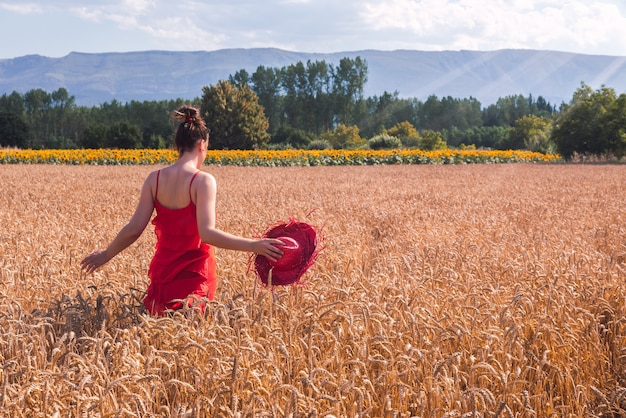 Mesmerizing shot of an attractive female in a red dress posing in a wheat field
