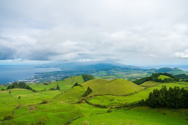 Mesmerizing shot of a beautiful mountainous landscape in azores, portugal