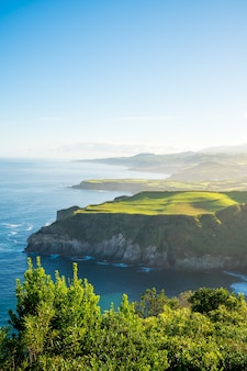 Mesmerizing shot of a beautiful seascape in azores, portugal