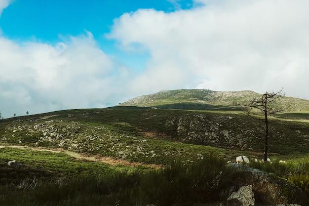 Vista affascinante del bellissimo paesaggio montuoso sotto un cielo nuvoloso