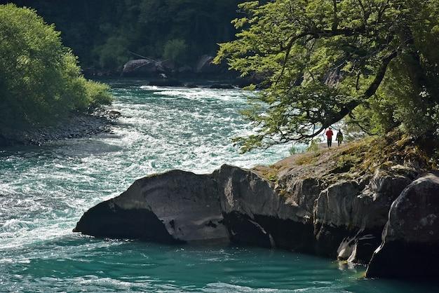 Vista affascinante della coppia vicino al fiume circondata da alberi