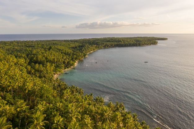Завораживающий вид на побережье с белым песком и бирюзовой прозрачной водой в индонезии.