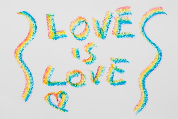 Message about love in lgbt colored letters